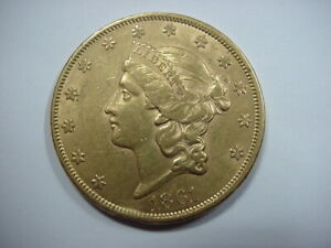 1861 TYPE 1 $20 GOLD DOUBLE EAGLE LIBERTY NO MOTTO CIVIL WAR YEAR COIN AU/UNC NR