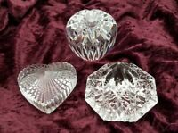 Lot of Three Signed Waterford Crystal Paperweights Pyramid Heart Apple Ireland
