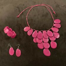 Tagua Nut Pink Necklace, Earrings and Bracelet, Necklace Set