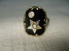 Great Estate 14K White Gold Diamond Onyx Masonic Mens Womens Eastern Star Ring