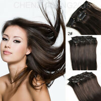 """FULL HEAD CLIP IN REMY HUMAN HAIR EXTENSIONS 14""""-30 2#"""