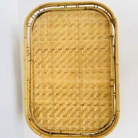 VTG LOT/3 NATURAL BAMBOO WOVEN RATTAN WICKER TIKI BAR SERVING TRAYS BOHO UNUSED
