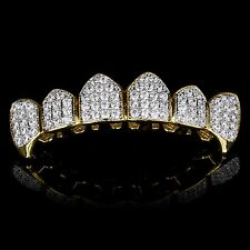 18K GOLD & SILVER Plated High Quality CZ Fang Top GRILLZ Mouth Teeth Grills