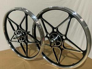 "20"" x 32mm BMX Front & Rear Freewheel Alloy Wheels 10 spokes Polish / Black M13"