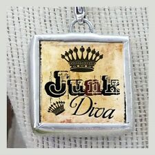 Queen of Junk Diva Crown Necklace Charm by IMCC & Crystal Dangle by jewel kade