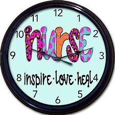 "Nurse Inspire Love Heal Wall Clock 10"""