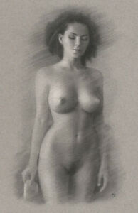 Nude Female ORIGINAL DRAWING Charcoal Realistic Fine Art Naked woman NO RESERVE
