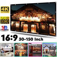 30-150'' Foldable Projector Screen 16:9 HD Anti-Crease Home 3D Cinema Theater