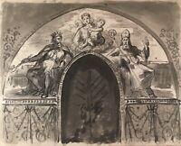 Aquarellierte Zeichnung Torbogen Supraporte Maria mit Kind um 1880 Entwurf Skizz