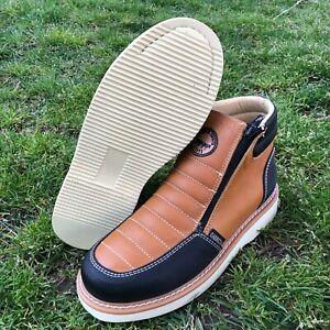 Men's Zip Up Mexican Handmade Ankle Work Boots Bota de hombre Cierre trabajo