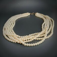"""Multi-Strand Pearl Necklace 6 Strands 25"""" Long NEW by Choozee"""
