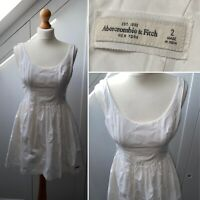Abercrombie and Fitch (A&F) (Size 6) - White Summer Dress - Broderie Anglaise