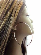 LARGE ROSE GOLD HOOP EARRINGS 2.75 inch PLATED ROSE GOLD TONE SIMPLE THIN HOOPS