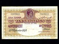Cyprus:P-23,10 Shillings,1948 * King George VI * RARE * VF *