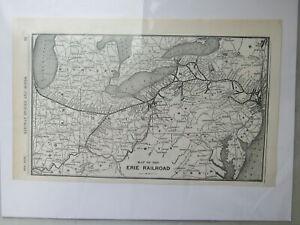 Original Vintage Map of the Erie Railroad ~ 1910