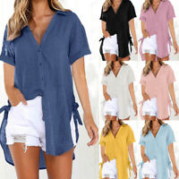 Womens Loose Button Long Shirt Dress Cotton Beach Casual Tops T-Shirt Blouse UK