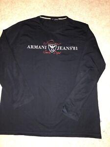 Armani Jeans Long Sleeved T Shirt Size XXL Black