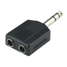 "6.3mm 1/4"" Y Splitter Adapter Plug Male to 2x 6.35mm Jack Female Audio/Guitar/PA"