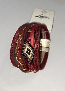 Lovisa New Red Bracelet Set Magnetic Boho Gift Beaded Leather Gold Friendship