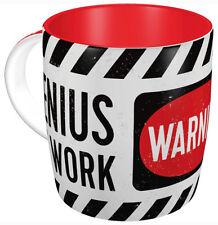 Retro Sturdy Ceramic Mug WARNING 'GENIUS AT WORK' Vintage Look Red/White