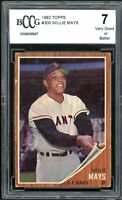 1962 Topps #300 Willie Mays Card BGS BCCG 7 Very Good+