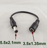 CCTV 5.5x 2.1mm Male to 3.5x 1.35mm Female DC Power Jack converter Adapter Cable
