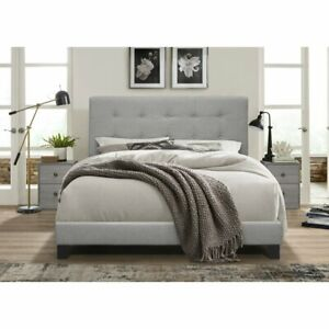 Bedroom 3pc Set Gray Modern Furniture Bed Headboard & 2 Nightstands