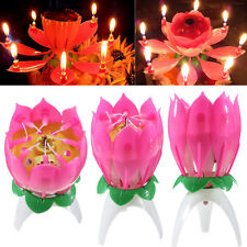Magical Blossom Lotus Light Birthday Musical Rotating Flower Lamp Candle Gifts