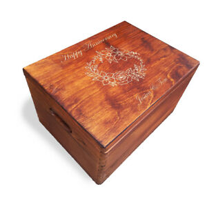 Wooden Engraved Personalised Anniversary Day Large Box whit Handles,Painted ELB3
