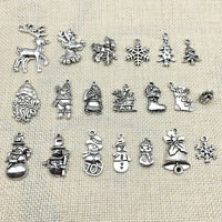 Lot Tibet Silver Christmas X-mas Santa Claus Charm Pendants DIY Jewelry Findings