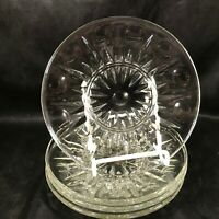 Vintage Clear Pressed  Glass Bread Plates Thumbprint Pattern Set of 4
