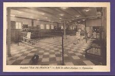 SS Ile de France B&W Postcard - Gymnasium - French Line