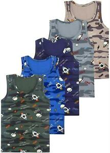 5 Jungen Unterhemden Baumwolle Tank Top Kinder Knaben Unterhemd Shirt Camouflage