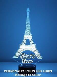 Eiffel Tower Night Light Personalized FREE, LED Night Lamp, Desk Lamp w/ Remote