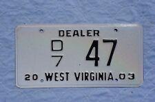 2003 West Virginia Dealer License Plate # 47
