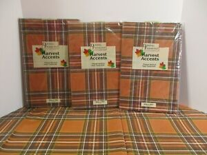 DINING FASHIONS Brown Plaid Fall Winter Kitchen Party Vinyl Easy Wipe Tablecloth