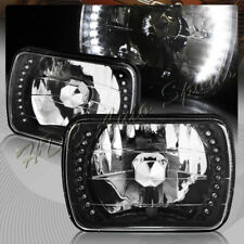 "7""x6"" H6054 Sealed Beam Replacement White LED Black Housing Clear Headlight Lamp"