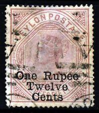 CEYLON QV 1885 One Rupee Twelve Cents Surcharge on 2r.50c. P12½x14 SG 176 VFU