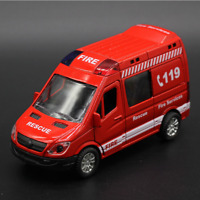 1:36 Rescue Ambulance Alloy Diecast Car Model Pull Back Sound Light Kids Toys