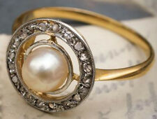Victorian Look 925 Silver Cocktail Ring 0.90cts Rose Cut Diamond Pearl Antique