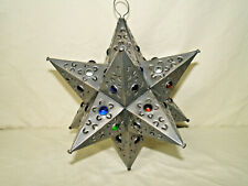 Moravian Star Pierced Metal Glass Pendant Light Lamp Hanging w/marbles 11 inches
