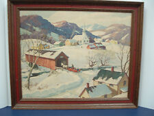 vintage country picture in wood frame midwinter scene leo B Blake reproduction