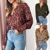 Womens Long Sleeve Leopard Top Ladies Blouse Casual V-Neck Loose Blouse T-Shirt