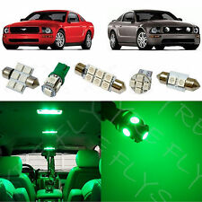 5x Green LED lights interior package kit for 2005-2009 Ford Mustang FM1G