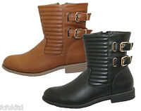 WOMENS LADIES ZIP UP BIKER WINTER BUCKLE ANKLE BOOTS FAUX LEATHER COWBOY SHOES