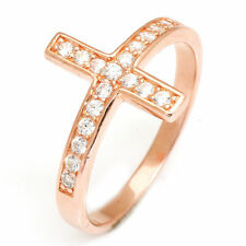 13mm Lovely 18ct Rose Gold Plated Solid Sterling Silver Cross Ring Size 6 Hot