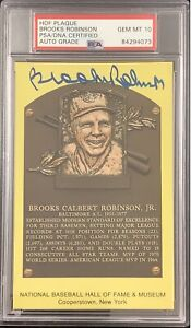 Brooks Robinson Signed Gold Plaque HOF Postcard Yellow PSA/DNA Auto GM Mint 10
