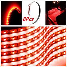8xCar Motor Red Grill Flexible Waterproof Light Strip Interior Atmosphere Lamp