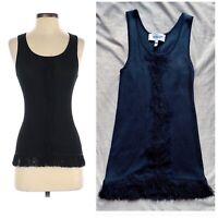 Derek Lam 10 Crosby Black Knit Ribbed Sleeveless Fringe Tank Top Cami Size XS
