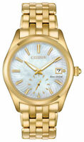 CITIZEN $350 WOMENS ECO-DRIVE STUNNING MO PEARL DIAL GOLD WATCH,DATE  EV1032-51D